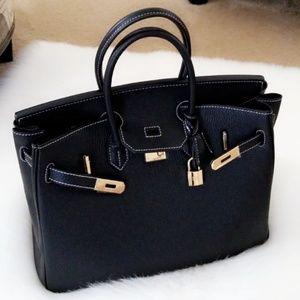 Handbags - Genuine Leather Padlock Handbag w/ White Stitching